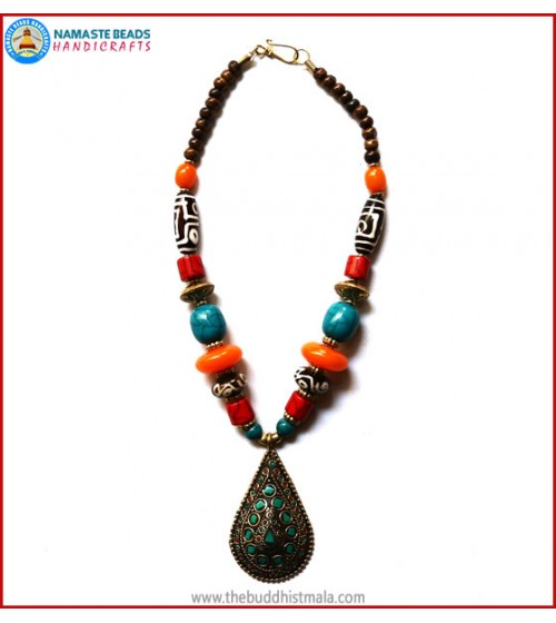 Dzi Beads & Inlaid Brass Pendant Necklace
