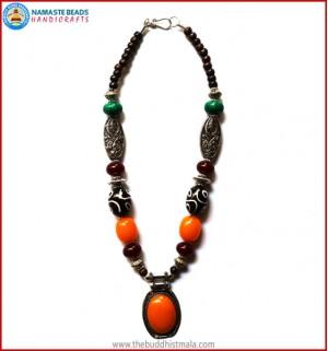 Resin Amber & Dzi Beads Necklace