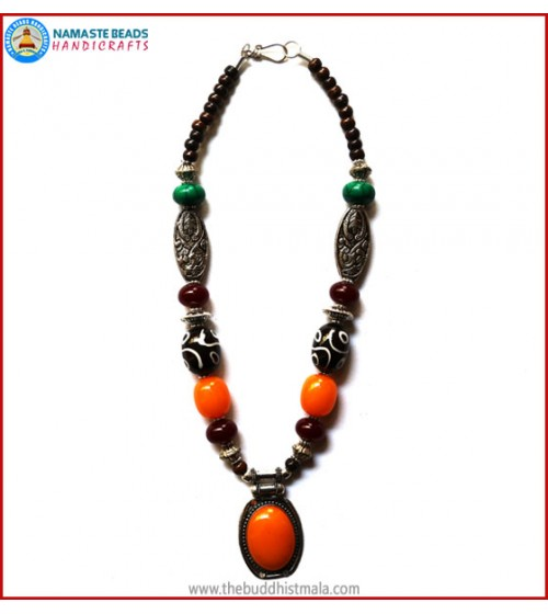 Resin Amber & Dzi Beads Necklace