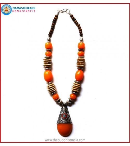 Flat Bone & Resin Amber Necklace