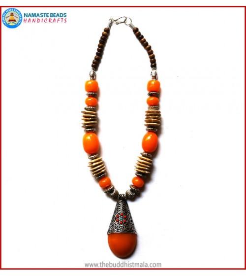 Flat Bone & Resin Amber Necklace