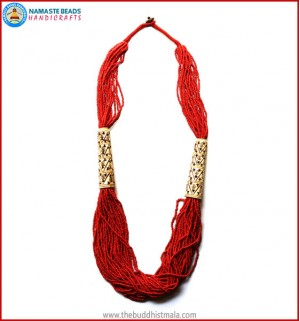 Carved Bone & Coral Necklace