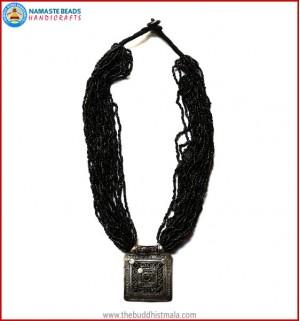 White Metal Pendant & Black Beads Necklace