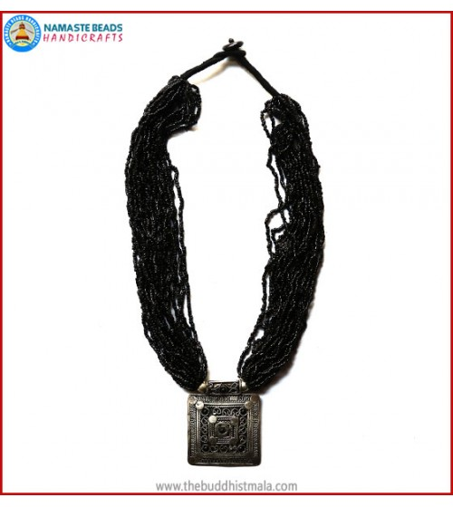 White Metal Pendant & Black Beads Necklace