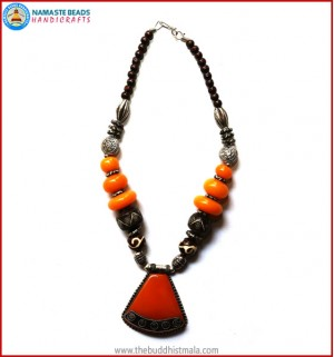 Resin Amber & Bone Beads Necklace