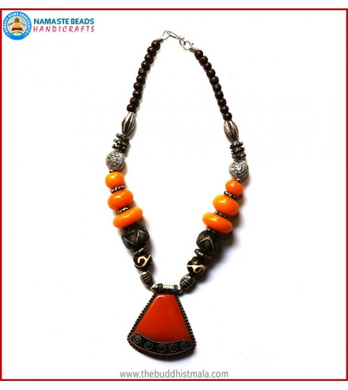 Resin Amber & Bone Beads Necklace