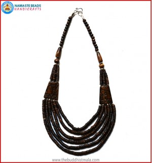 """Elephant"" Carved Six Layers Brown Bone Necklace"