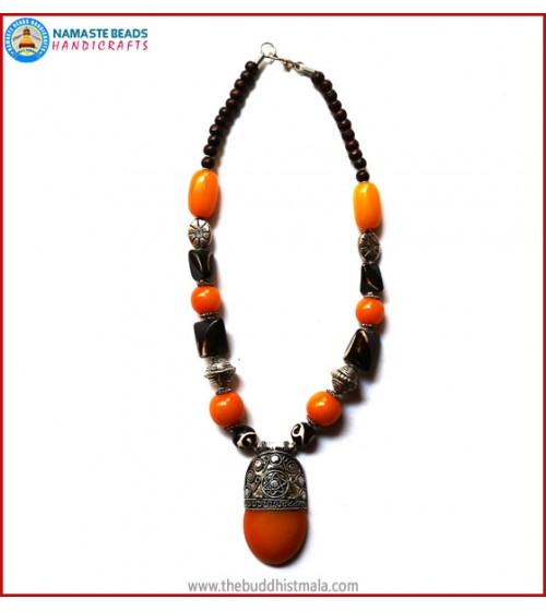 Resin Amber & White Metal Beads Necklace