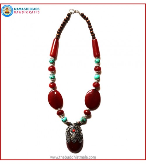 Turquoise & Resin Amber Necklace