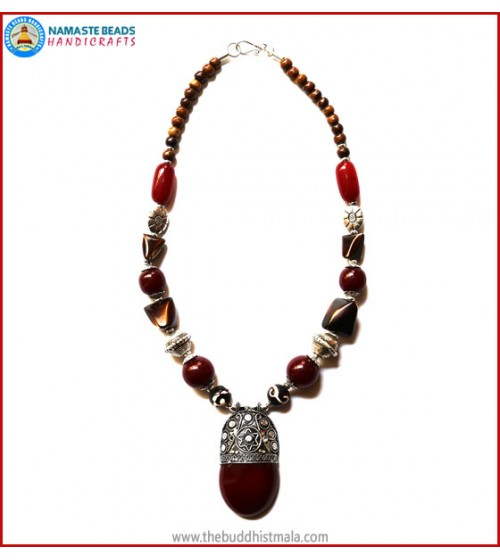 Resin Dzi Bead & Resin Amber Necklace